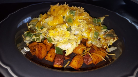 eggs with sweet potato hash
